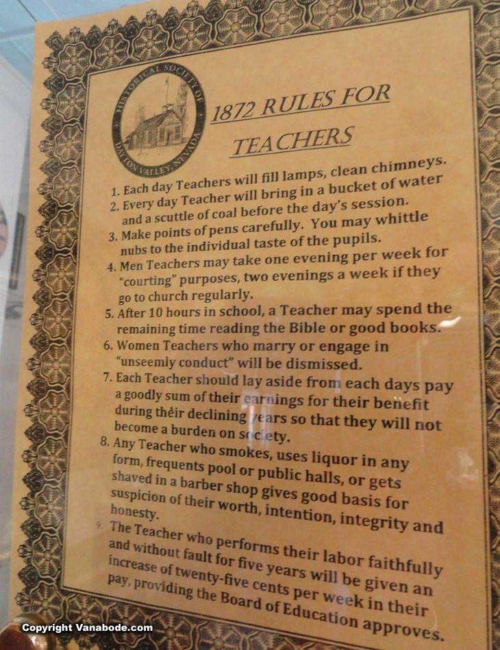 1872 rules for teachers posted in an incredible historic church in virginia city