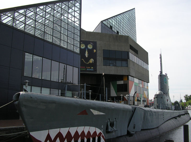 picture of submarine outside of baltimore museum