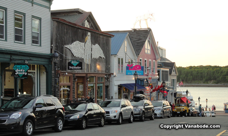 picture of main street shops in bar harbor maine