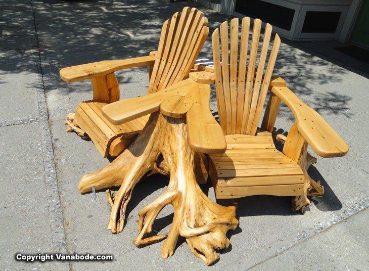 double hand carved wood chairs in belfast maine