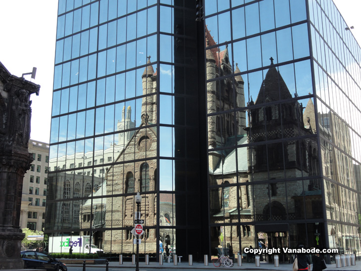 picture of trinity church reflection in boston