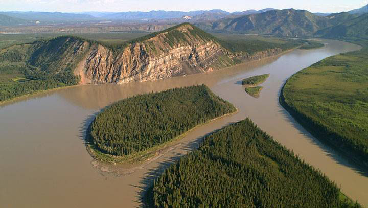 aerial picture taken of calico bluff in alaska