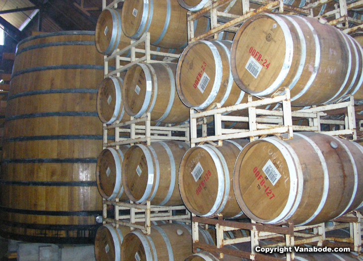 picture of wine barrels in california winery