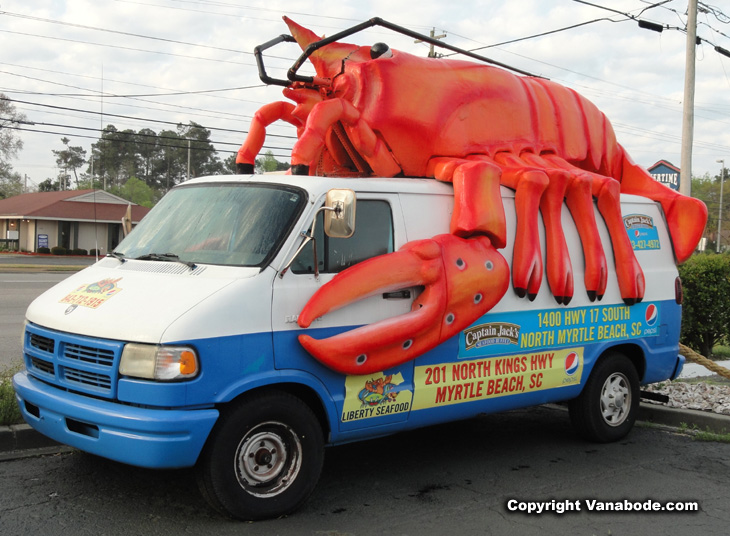 Captain Jacks awesome lobster van near North Myrtle Beach and the shaggers parade.