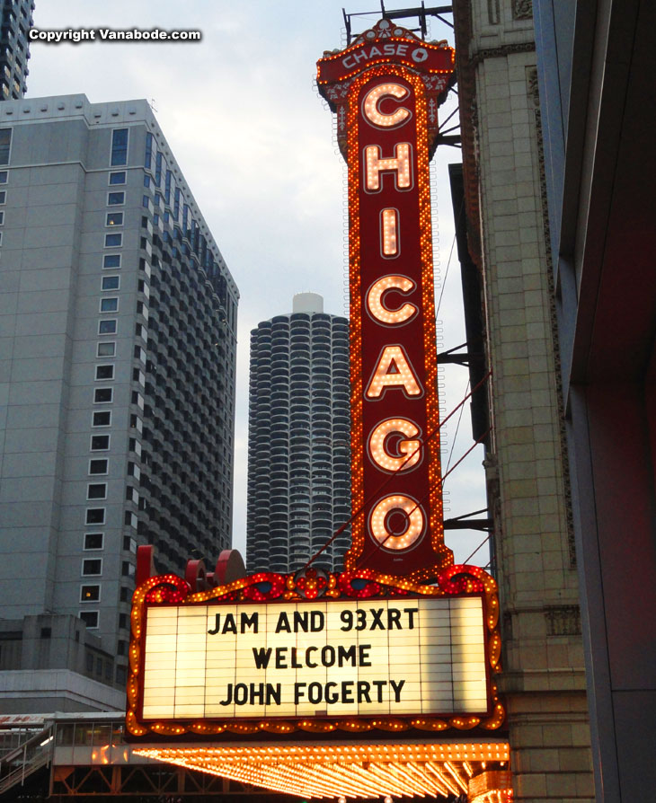 lighted sign in chicago for chase bank and John Fogerty