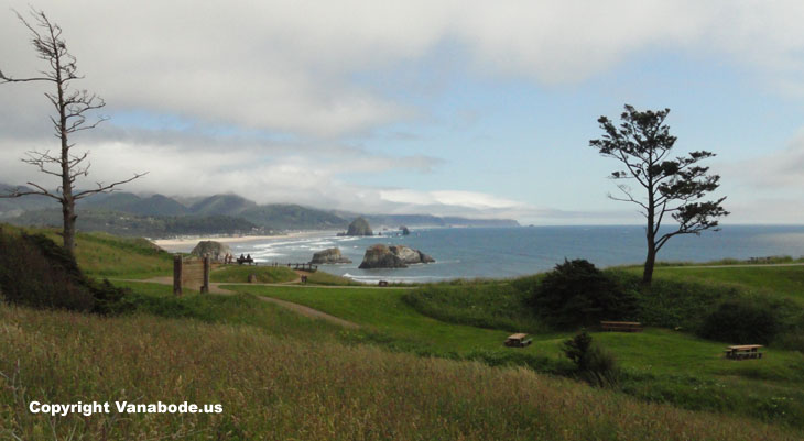 picture taken from parking lot of ecola state park near cannon beach oregon and haystack rock