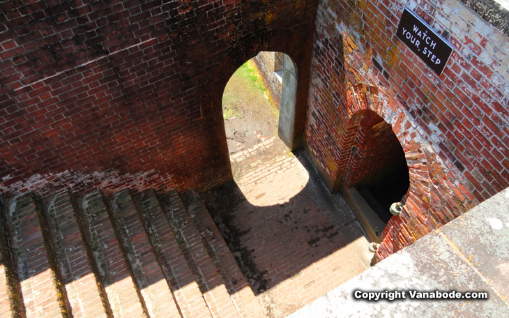fort macon interior steps and dungeon entrance