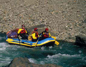 Picture of rafters along the Big river of the Aniakchak National Monument Preserve in Alaska