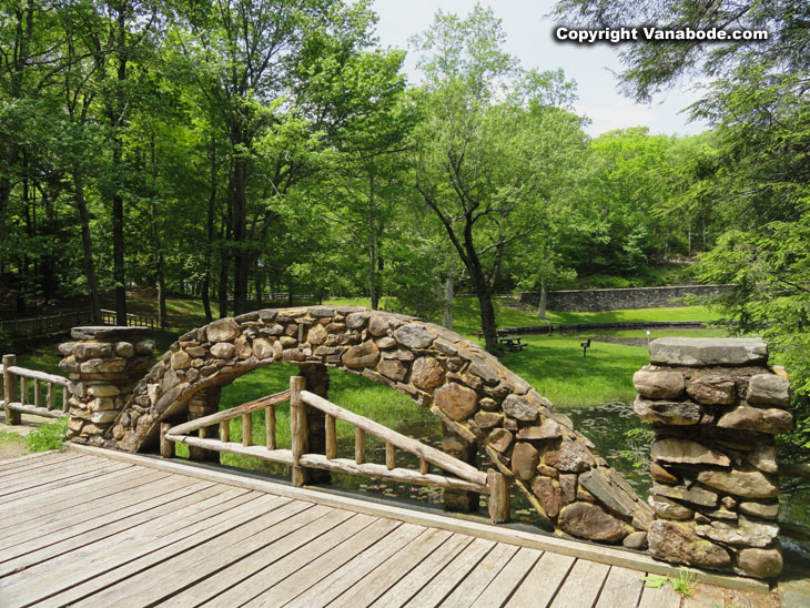 Gillette Castle State Park hand made brick bridge over seasonal low stream
