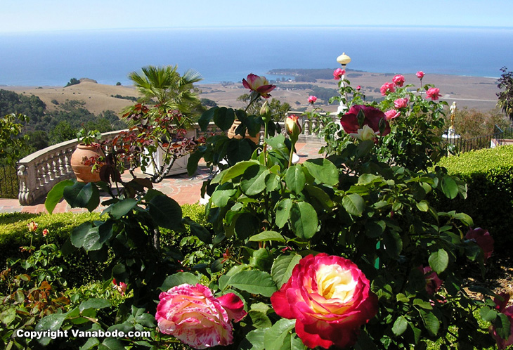 looking out from one of the balconies at the hearst castle at the pacific ocean miles away was quite spectacular