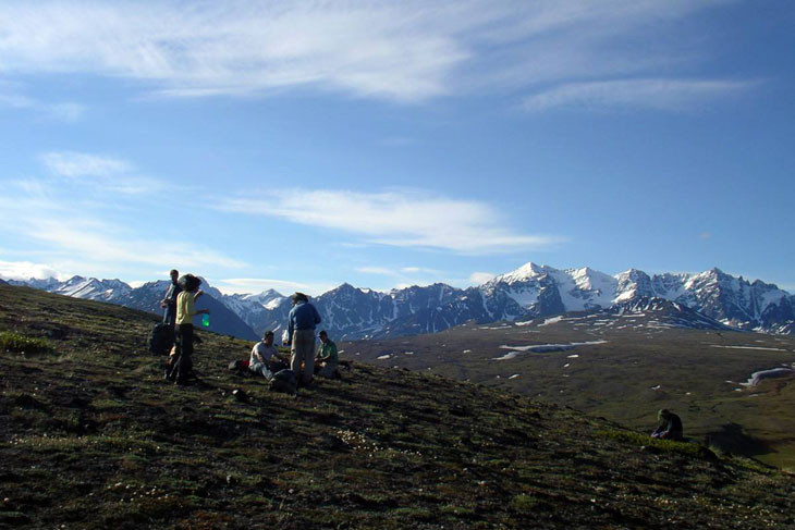 picture taken of hikers on telaquana trail in lake clark alaska