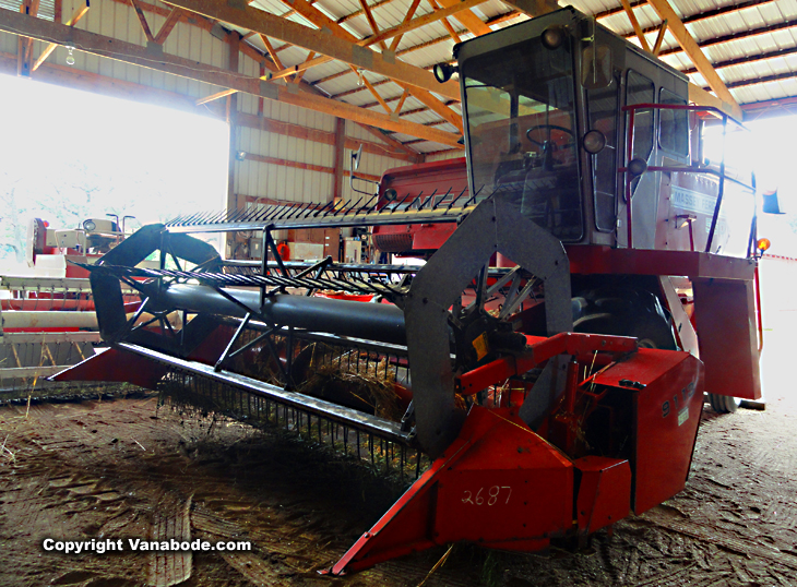 combine machine on organic farm