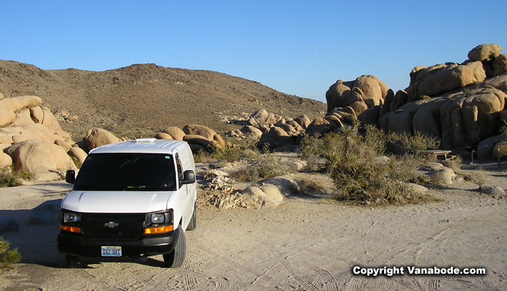 picture of vanabode at white tank campground in joshua tree national park