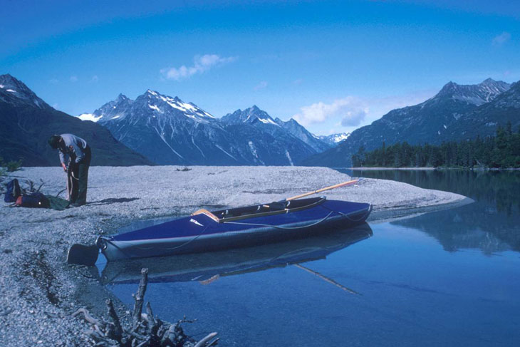 picture taken of kayaker on crescent lake in lake clark national park and preserve alaska