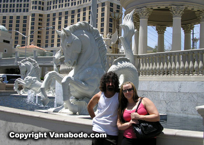 picture standing in front of caesars palace on the las vegas strip