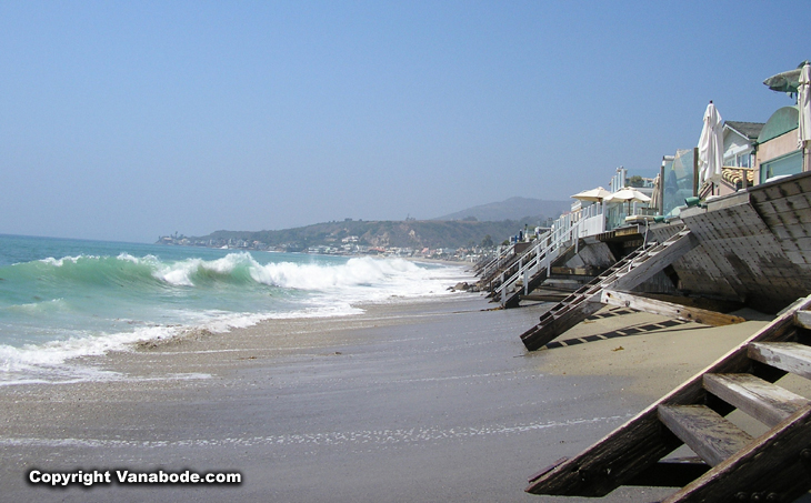 malibu beach houses at high tide picture