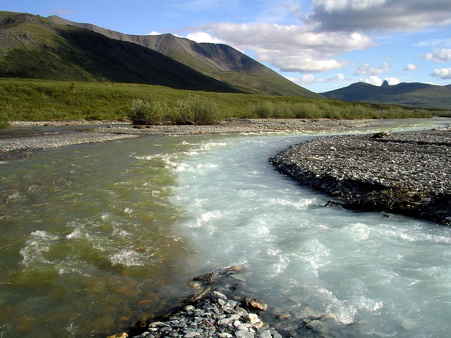 Picture of merging water in the Noatak River in Alaska