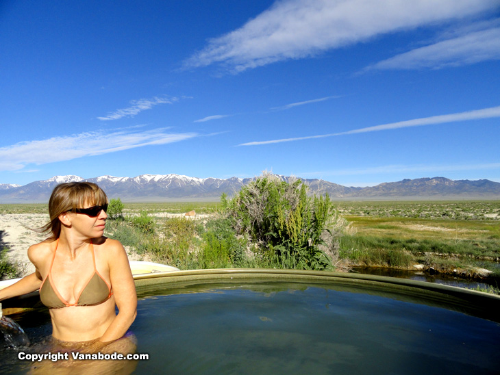 naked woman in outdoor hot tub sauna picture