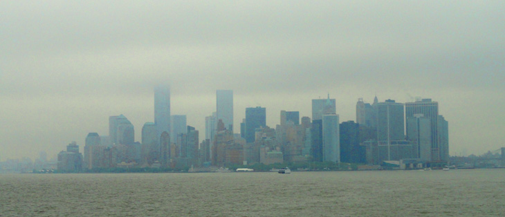New York City skyline in the financial district