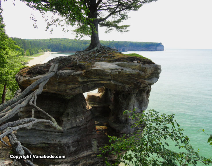 wild rock formations along the coast on lake superior