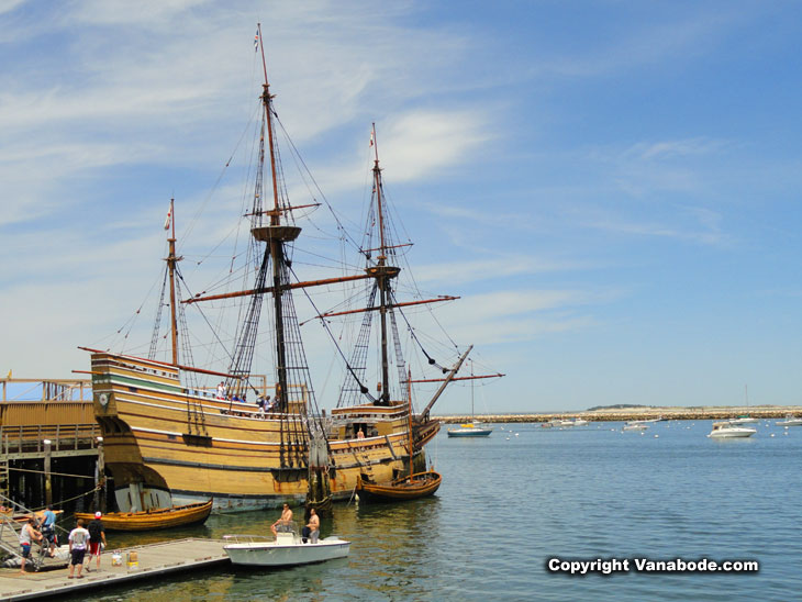 full sized Mayflower wooden ship replica in plymouth