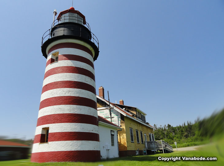 lighthouse in maine on atlantic ocean at quoddy