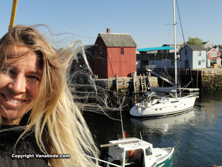 kelly smiles on our east coast road trip in rockport
