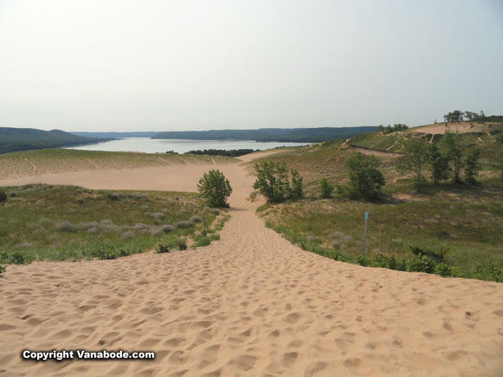 dunes and one of the lakes in Sleeping Bear