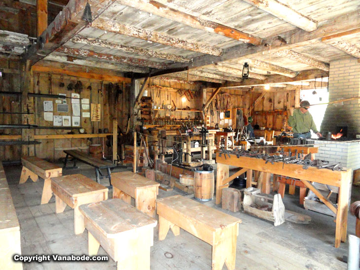 Visitor center working blacksmith shop in Sleeping Bear Dunes National Lakeshore Park.