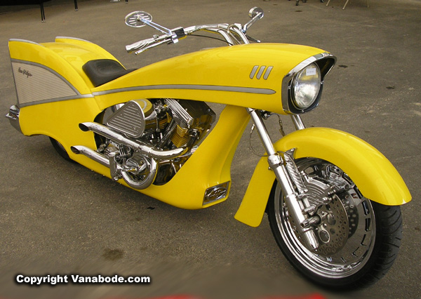 sturgis vintage yellow bike picture