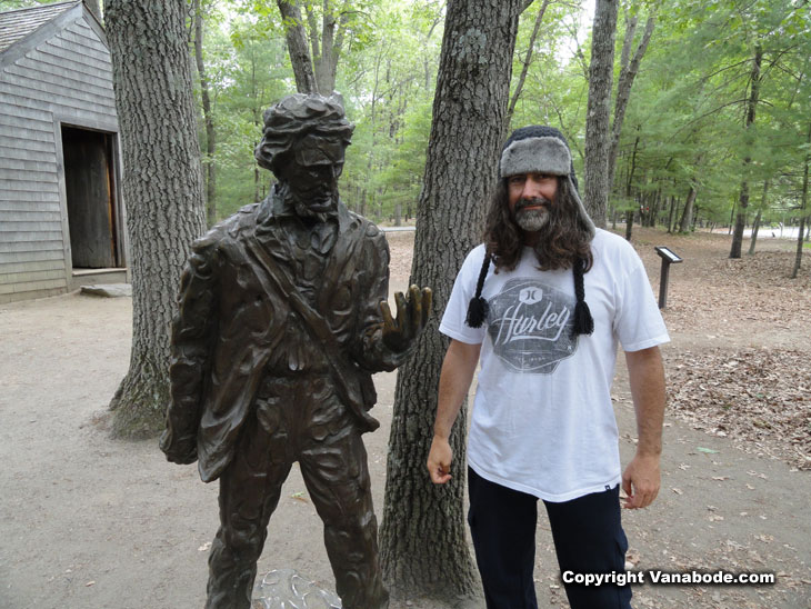 vanabode author jason odom poses in concord with henry david thoreau