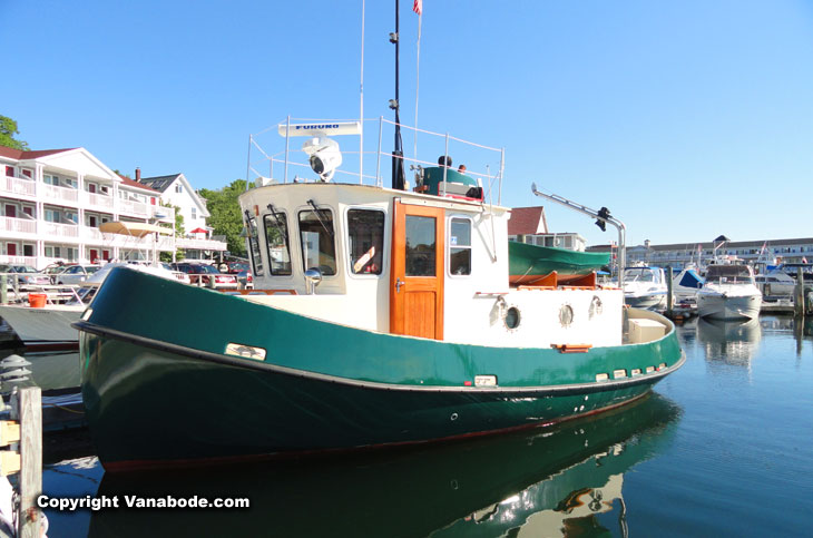 tugboat in maine's boothbay harbor
