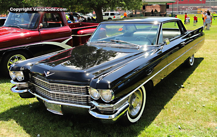 stunning cadillac at car show in gorham during 18 week vanabode road trip